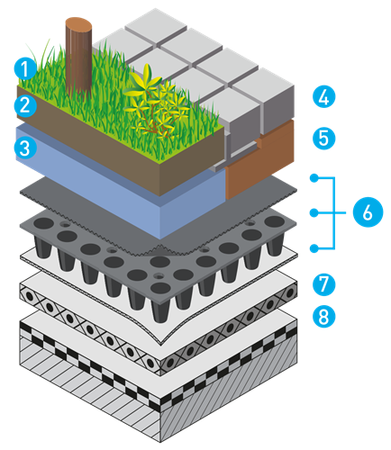 Nophadrain Intensive Green Roof System